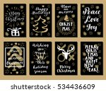 set of merry christmas  happy... | Shutterstock .eps vector #534436609