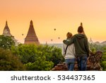 young couple tourism see view... | Shutterstock . vector #534437365