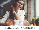 smiling woman in a good mood... | Shutterstock . vector #534437395