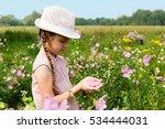 girl on the meadow feast one's... | Shutterstock . vector #534444031