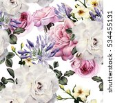 seamless floral pattern with... | Shutterstock . vector #534455131