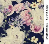 seamless floral pattern with... | Shutterstock . vector #534455209