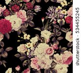 seamless floral pattern with... | Shutterstock . vector #534455245