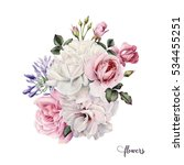 bouquet of roses  watercolor ... | Shutterstock . vector #534455251