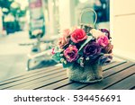 flowers on wood table with... | Shutterstock . vector #534456691