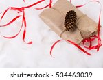 christmas gift tied with ribbon ... | Shutterstock . vector #534463039