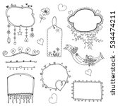 set of doodle lines hand drawn...   Shutterstock .eps vector #534474211