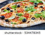 home made raw pizza with... | Shutterstock . vector #534478345