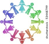 children in circle shapes | Shutterstock . vector #53448799