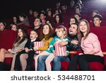 happy family in the movie | Shutterstock . vector #534488701