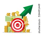 cash growth. green arrow. darts ... | Shutterstock .eps vector #534491449