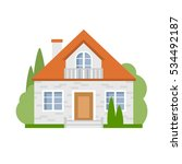 isolated cartoon house. simple... | Shutterstock . vector #534492187