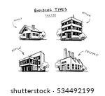 four vector buildings sketch... | Shutterstock .eps vector #534492199