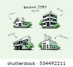 four vector buildings sketch... | Shutterstock .eps vector #534492211