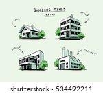 four vector buildings sketch... | Shutterstock .eps vector #534492211