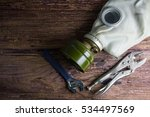 gas mask on wooden background... | Shutterstock . vector #534497569