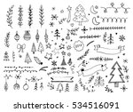 hand drawn merry christmas ... | Shutterstock .eps vector #534516091