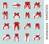 gift boxes with red bows... | Shutterstock .eps vector #534537451