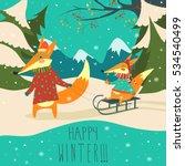 funny foxes sledding | Shutterstock .eps vector #534540499