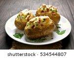 baked potato with bacon  cheese ... | Shutterstock . vector #534544807