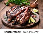 grilled barbecue pork ribs on...   Shutterstock . vector #534548899