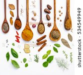 various herbs and spices in... | Shutterstock . vector #534549949