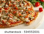 pizza with chicken and pickles... | Shutterstock . vector #534552031