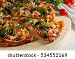 vegetarian pizza with... | Shutterstock . vector #534552169