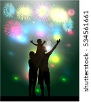 fireworks party.silhouette... | Shutterstock .eps vector #534561661