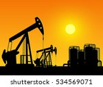 silhouette of working oil pumps ... | Shutterstock .eps vector #534569071