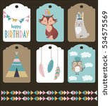 set of stickers template with... | Shutterstock .eps vector #534575569
