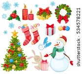 set of christmas icons.... | Shutterstock .eps vector #534578221