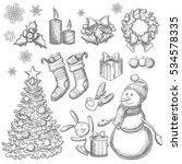 set of christmas icons.... | Shutterstock .eps vector #534578335