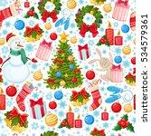 seamless pattern of christmas... | Shutterstock .eps vector #534579361