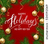 holidays greeting card for... | Shutterstock .eps vector #534592069