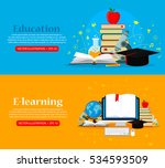 set of web banners education