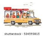 tourists ride on the savannah... | Shutterstock .eps vector #534593815