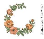 hand drawn garden flower wreath....   Shutterstock .eps vector #534595177