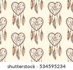 hand drawn ethnic dreamcatcher... | Shutterstock .eps vector #534595234