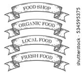 food shop market emblem ribbon. ... | Shutterstock . vector #534595375