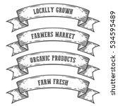 farmers market emblem ribbon.... | Shutterstock . vector #534595489