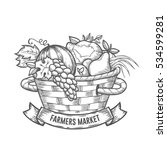 farmers market badge.... | Shutterstock . vector #534599281