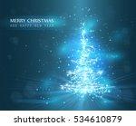 christmas tree with defocused... | Shutterstock .eps vector #534610879