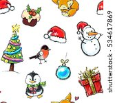 seamless winter holiday pattern ... | Shutterstock .eps vector #534617869