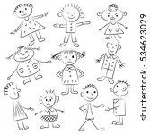 set of ten cute kids. funny... | Shutterstock .eps vector #534623029