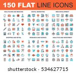 vector set of 150 flat line web ... | Shutterstock .eps vector #534627715
