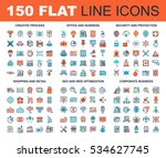 Vector set of 150 flat line web icons on following themes - creative process, corporate business, office and business, security and protection, shopping and retail, SEO and web optimization. | Shutterstock vector #534627745