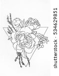 sketch of a rose in triangle on ... | Shutterstock . vector #534629851
