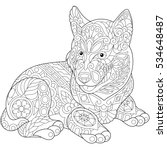 coloring page of husky puppy ... | Shutterstock .eps vector #534648487
