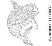 stylized ocean dolphin animal.... | Shutterstock .eps vector #534648514